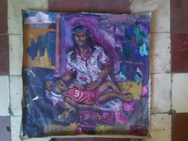 Action painting of woman with child, Phnom Penh
