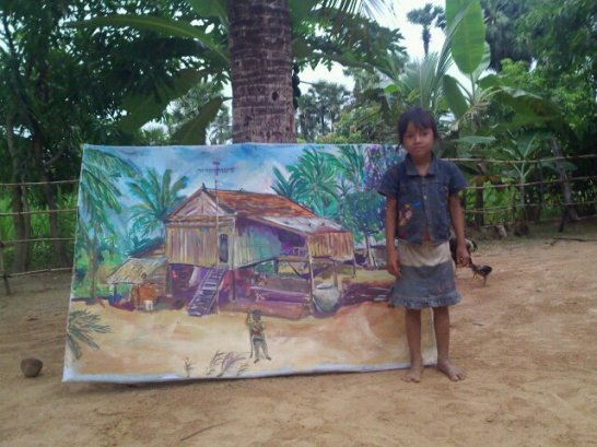 Result of the painting of the hut in Cambodia